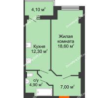 1 комнатная квартира 41,53 м², ЖК Уютный дом на Мечникова - планировка