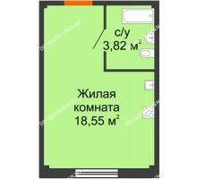 Студия 22,37 м² в ЖК Лайм, дом № 1 - планировка