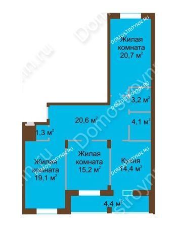 3 комнатная квартира 103 м² в ЖК Монолит, дом № 89, корп. 1, 2