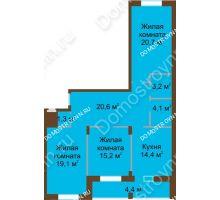 3 комнатная квартира 103 м² в ЖК Монолит, дом № 89, корп. 1, 2 - планировка