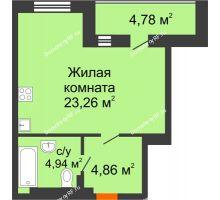 Студия 35,45 м² в ЖК Ютта, дом ГП-2 - планировка