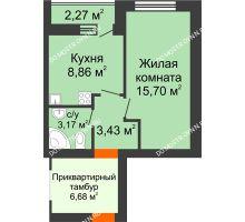 1 комнатная квартира 32,3 м² - ЖК Янтарный