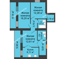 3 комнатная квартира 73,94 м² - ЖК Дом у озера