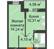 1 комнатная квартира 37,06 м² в ЖК Россинский парк, дом Литер 1 - планировка