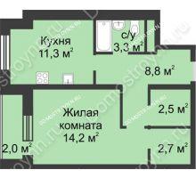 1 комнатная квартира 44,8 м² - ЖК Дом на Иванова
