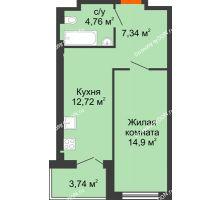 1 комнатная квартира 39,54 м² - ЖК Уютный дом на Мечникова