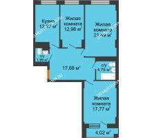 3 комнатная квартира 91,04 м², ЖД Весна - планировка