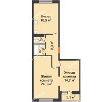 2 комнатная квартира 72,9 м², ЖК Дом на Горького - планировка