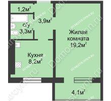 1 комнатная квартира 37,85 м² в ЖК Сормовская сторона, дом № 4 - планировка