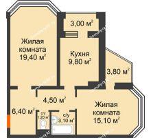 2 комнатная квартира 62,9 м², ЖК Приоритет - планировка