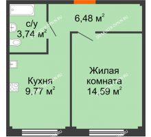 1 комнатная квартира 34,58 м² в ЖК Лайм, дом № 1