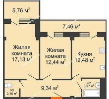 2 комнатная квартира 63,37 м² в ЖК Парковый, дом 6 позиция, блок-секция 3 - планировка
