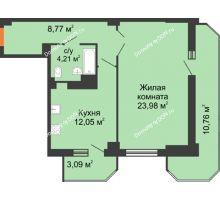 1 комнатная квартира 62,86 м², ЖК Гармония - планировка