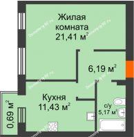 1 комнатная квартира 44,89 м² в ЖК Португалия, дом № 21 - планировка