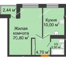 1 комнатная квартира 39,64 м² в ЖК Европа-сити, дом Литер 5 - планировка