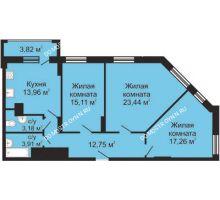 3 комнатная квартира 91,52 м², ЖК Гелиос - планировка