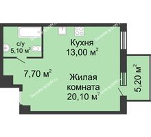 1 комнатная квартира 51,8 м², ЖК Нахичевань - планировка