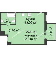 1 комнатная квартира 48,2 м², ЖК Нахичевань - планировка