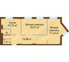 2 комнатная квартира 63,43 м² в ЖК Солнечный, дом № 4