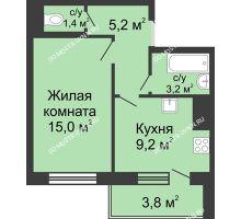1 комнатная квартира 35,9 м² в ЖК Окский берег, дом №6, Приокская улица