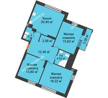 3 комнатная квартира 93,74 м² в ЖК Книги, дом № 1 - планировка