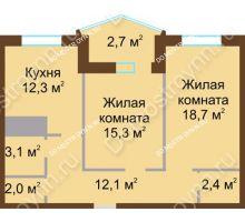 2 комнатная квартира 68,6 м² в ЖК Монолит, дом № 89, корп. 1, 2 - планировка