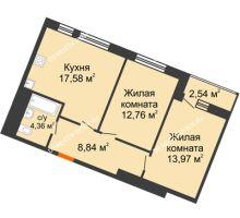 2 комнатная квартира 60,05 м² в ЖК Книги, дом № 1 - планировка