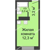 Студия 18,8 м² в ЖК ЮГ, дом № 20 - планировка