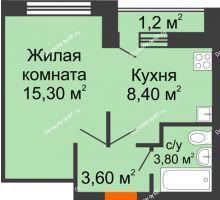 1 комнатная квартира 32,2 м² в ЖК Спортивный парк, дом Литер 6 - планировка