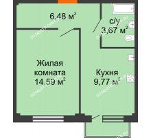1 комнатная квартира 35,03 м² в ЖК Лайм, дом № 1