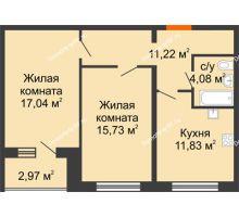 2 комнатная квартира 61,38 м², ЖК Вавиловский Дворик - планировка