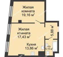 2 комнатная квартира 61,48 м², ЖК Гранд Панорама - планировка