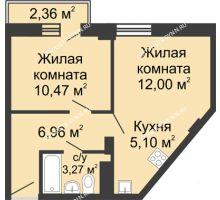 2 комнатная квартира 38,5 м², ЖК Каскад на Волжской - планировка