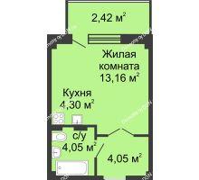 Студия 27,6 м² в ЖК Соловьиная роща, дом № 7 - планировка
