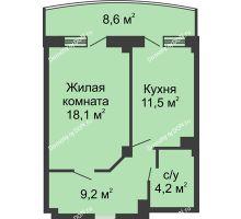 1 комнатная квартира 47,3 м² в ЖК Новый Город, дом № 2 - планировка