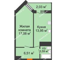 1 комнатная квартира 44 м² в ЖК Империал, дом Литер 9 - планировка