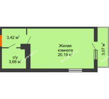 Студия 28,13 м² в ЖК Семейный парк, дом Литер 2 - планировка