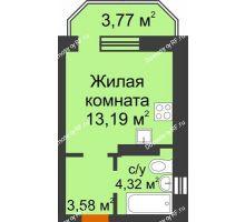Студия 22,22 м² в ЖК Светлоград, дом Литер 15 - планировка