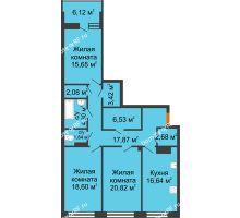 3 комнатная квартира 113,52 м², ЖК Волна - планировка