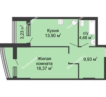 1 комнатная квартира 56,95 м², ЖК Адмирал - планировка
