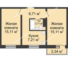 2 комнатная квартира 47,95 м² в ЖК Корабли, дом № 6 - планировка