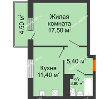 1 комнатная квартира 39,7 м² в ЖК Я, дом  Литер 2 - планировка