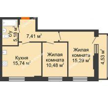 2 комнатная квартира 55,34 м², ЖК КМ Флагман - планировка