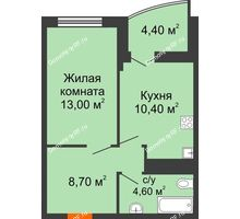 1 комнатная квартира 38,9 м² в ЖК Дружный, дом Литер 2.3 - планировка