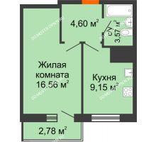1 комнатная квартира 36,66 м² - ЖК Комарово