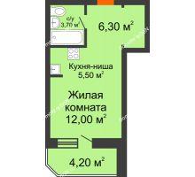 Студия 31,3 м² в ЖК Звездный-2, дом № 3 - планировка