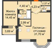 2 комнатная квартира 67,44 м², ЖК Дом на Гребешке - планировка