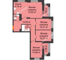4 комнатная квартира 79,07 м² - ЖК Каскад на Куйбышева