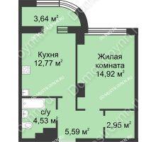 1 комнатная квартира 42,58 м² в ЖК Караваиха, дом № 5 - планировка