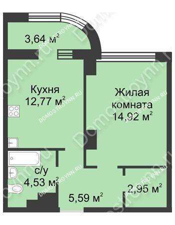 1 комнатная квартира 42,58 м² в ЖК Караваиха, дом № 5